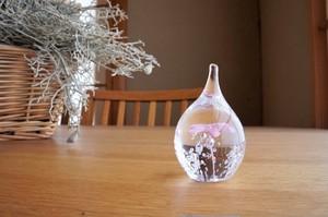 ガラス/しずく花リングスタンド/ピンク