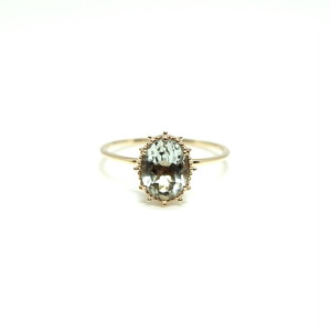granulation 8×6 gem ring - Green ametyst