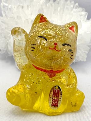 招き猫~金運アップ・商売繫盛~【ゴールドルチル・シトリン・水晶】