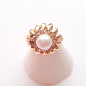 pearl & rhinestone ring #15[r-3]