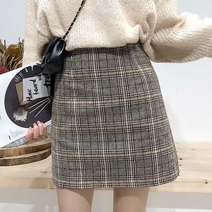 【ボトムス】シンプル切り替えチェック柄スカート24905606