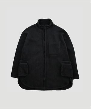 PORTER CLASSIC Fleece Zip Up Shirt Jacket Black  PC-022-1185-10BL