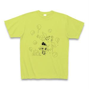 唐傘オバケと座敷わらし1(和傘工房 初音コラボ)Tシャツ:ライムグリーン