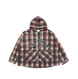 ARCH LOGO TARTAN CHECK HOODED SHIRT / RED