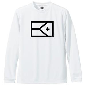 KYUSロゴ   ドライシルキーロングスリーブTシャツ(ホワイト×ブラック)