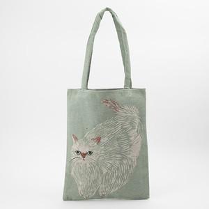 松尾ミユキ:トートバッグ:ふっくら白猫さん:Bushy Cat  BAG