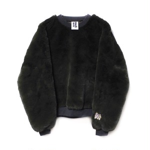 【SOMEWHERE NOWHERE】EDELWEISS FAUX FUR SWEATER green