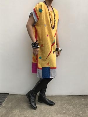 Vintage yellow geometric dress (ヴィンテージ  イエロー ジオメトリック ワンピース )