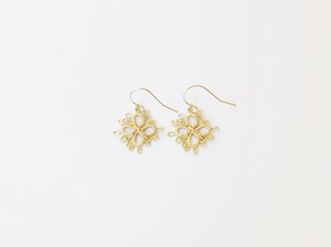 YulariceTatting lace earring Clover Brass
