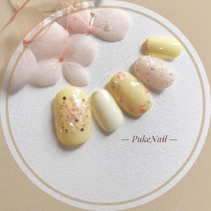[Pukeネイル[No.301]花束黄色ウェディング・春・夏ジェイルネイルチップ