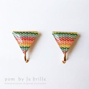 手織り三河木綿イヤリングD/pom by Je brille/伝統と現代が織り成す三河木綿アクセサリー