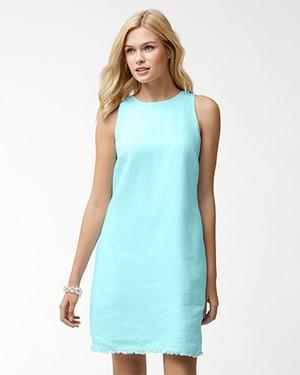 TWO PALMS S/L SHORT DRESS/AQUA MIST