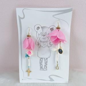 【Sui to Nika】ピンンクのバラのピアス バラのカボション