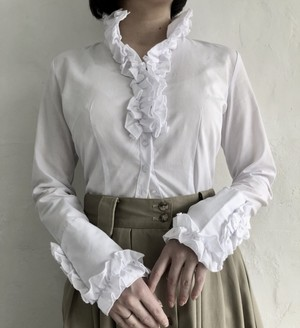 90's frill back lace up blouse.