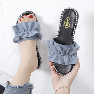 【shoes】シンプルギャザー飾り丸トゥサンダル19197406