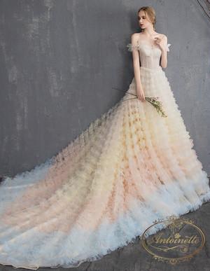 ladies wedding dress pink white long A-line happy ceremony 海外 ウエディングドレス ピンクホワイト かわいい Aライン シフォン