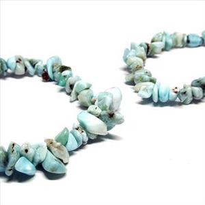 【夏色!人気アイテム】天然石 ブルーペクトライト さざれ石 ブレスレット(6mm)