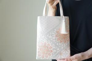 【華紋 青海波 シルバー・ピンク シルク帯 ミニサブバック フォーマルバック】日常使い、結婚式、パーティーに。