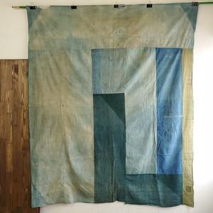 襤褸布 藍緑 古布 布団袋 綿布