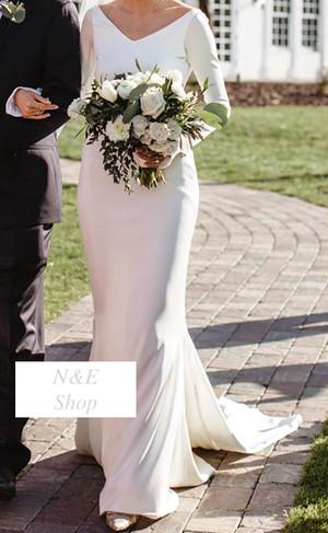 ウェディングドレス マーメイド シンプル サテン オープンバッグ Vネック