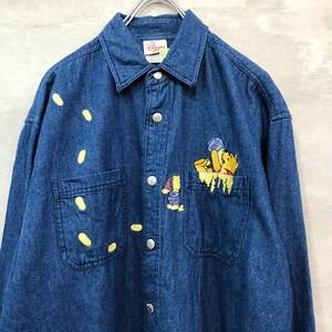 プーさん デニム刺繍 長袖シャツ  #1001
