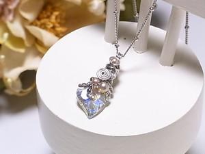 ハート スワロフスキー ワイヤーラッピング ネックレス(160213 crystalAB)~大人可愛い スワロ~