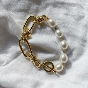 Baroque pearl & joint chain bracelet - gold  < LSD-BA1PA2 >