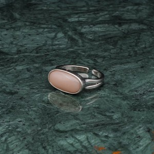 OVAL STONE RING SILVER