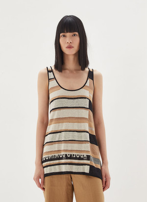 STRIPED LINEN AND VISCOSE TOP