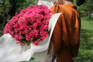 バラの花束/ラブリーリディア(濃ピンク)ー 100本
