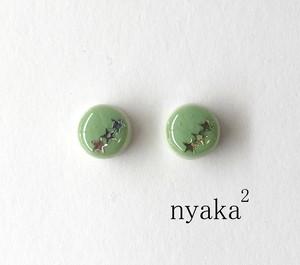 【プチデコ】丸グリーンタイル ピアス/イヤリング/ヘアピン/リング