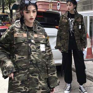 ミリタリージャケット レディース アウター ショート コート 迷彩柄 カモフラ柄 ジャケット 長袖 ゆったり カジュアル 韓国服