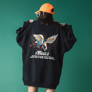 【トップス】ファッションストリート系刺繡鶴図柄長袖パーカー37765911