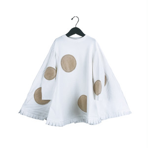 UNEVEN BOA DOTS PONCHO SWEAT DRESS / WOMEN