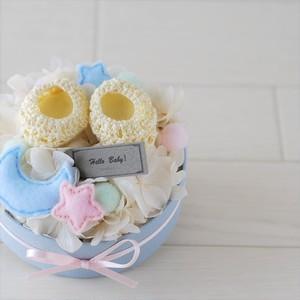出産祝いに★ベビーシューズとお花のパステルパレット【Sサイズ】 Pastel Palette