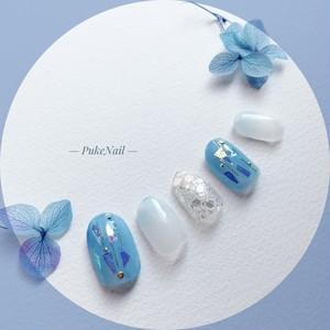 Pukeネイル [No.188]青色&ホログラム&グラデーション・出かけ・パーティー結婚式等♡v♡ジェイルネイルチップ
