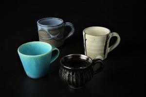 エスプレッソカップ(青釉/紺碧/彫/黒線) 信楽焼