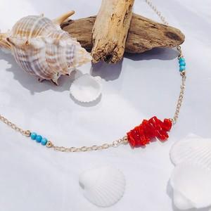 【CORALIA】ビーチ 001 アンクレット 赤珊瑚 サザレ ターコイズ K10