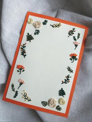 [ 縦 ] 草花フレームカード