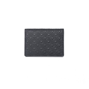 WM × PORTER MARQUETRY PATTERN EMBOSSED LEATHER CARD CASE - BLACK