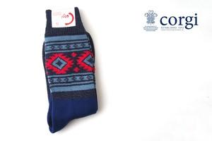 コーギー|corgi|コットンカジュアルソックス|靴下|チロリアン柄|ネイビー×レッド