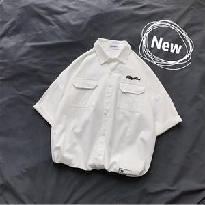 【トップス】韓国風ins短袖レトロルーズブラックPOLOシャツ