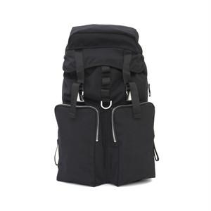 LORINZA Cordura Nylon Double Pocket Backpack Black