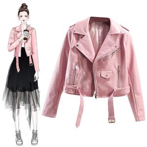 【アウター】洗練され韓国版着やせ見え折り襟PUジャケット