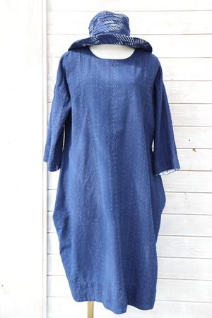 ワンピース OP25 バルーンワンピー 藍染絣柄 M46