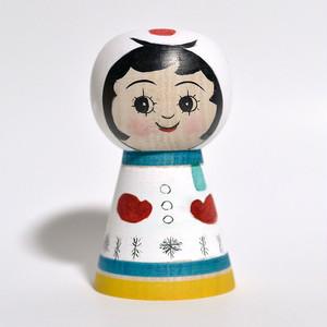 ギョロ目ちゃん雪だるまこけし 約3.5寸 約10.6cm 山谷レイ 工人(津軽系)#0268