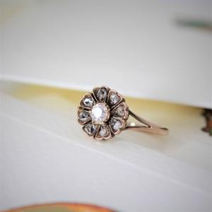 Diamond Flower Gold Ring   ダイヤモンド フラワー リング