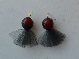 Tulle grape pierce/earring