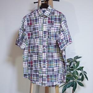 アメリカ マドラスチェック柄パッチワークシャツ US [C826]