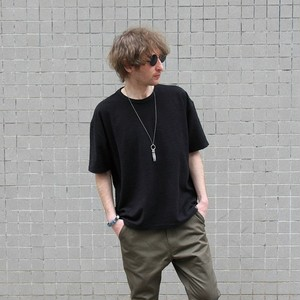 "QUOLT / クオルト | "" TACK KNIT ""  Big Tee / BLACK"